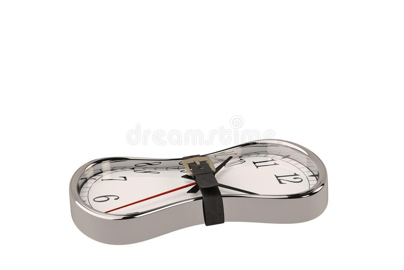 时间概念时钟和传送带 3d例证 向量例证