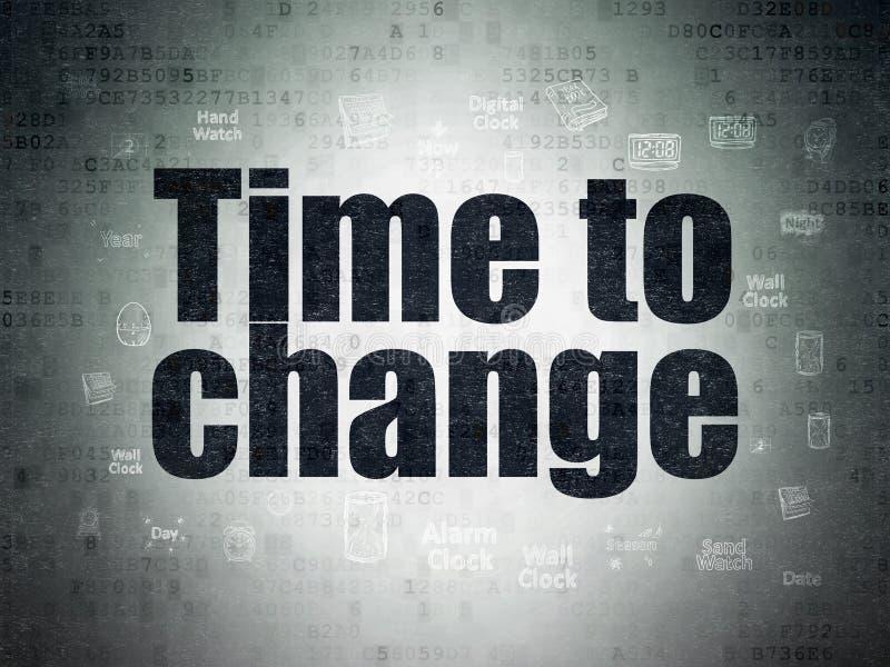 时间概念:时刻改变在数字资料裱糊背景 向量例证