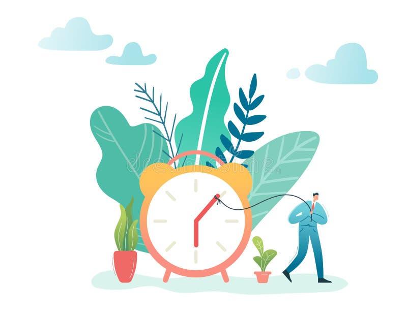 时间管理商业运作优化概念 商人和闹钟 字符生产力,效率 向量例证