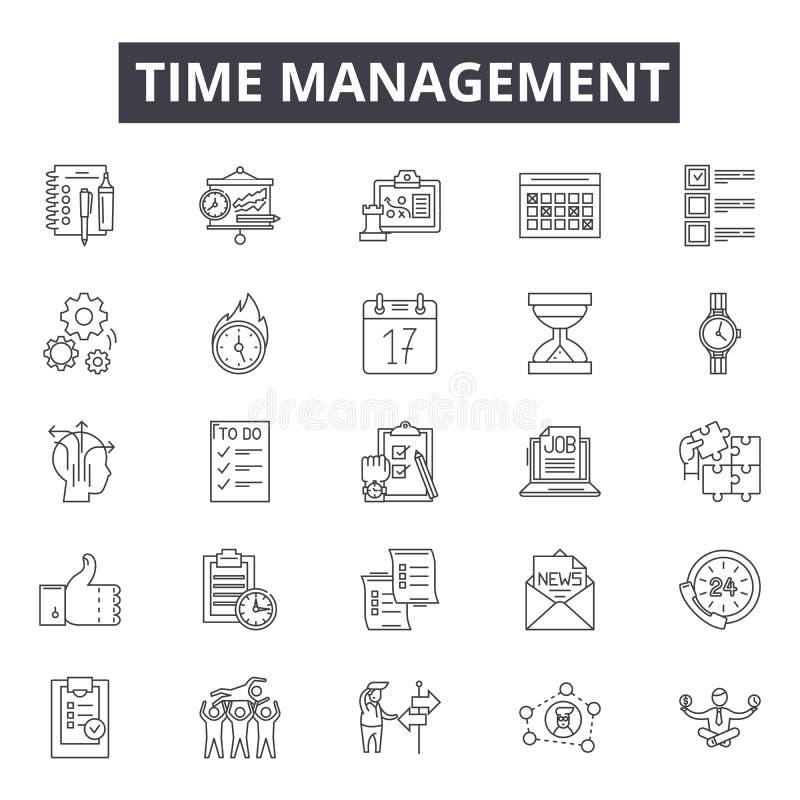 时间管理线象,标志,传染媒介集合,概述例证概念 皇族释放例证