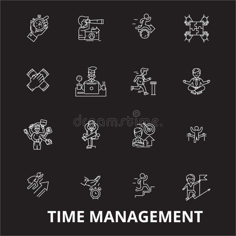 时间管理编辑可能的线象导航在黑背景的集合 时间管理白色概述例证,标志 库存例证