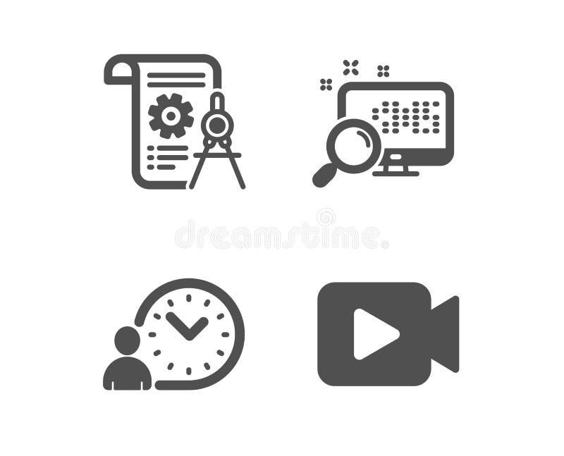 时间管理,分切器文件和查寻象 摄像头标志 打工时间,报告文件,发现文件 ?? 库存例证