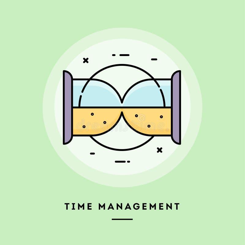 时间管理,平的设计稀薄的线横幅 皇族释放例证