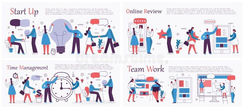 时间管理,开始,数字营销和流动广告业概念 皇族释放例证