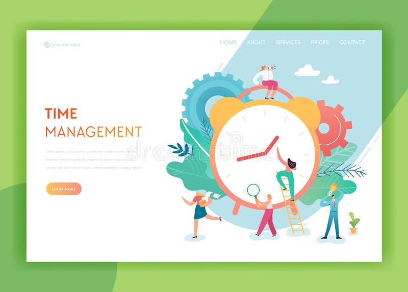 时间管理,计划,与字符队运作的网站的配合登陆的页模板经营战略概念 皇族释放例证