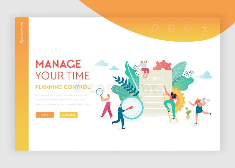 时间管理,计划,与字符队运作的网站的配合登陆的页模板经营战略概念 向量例证