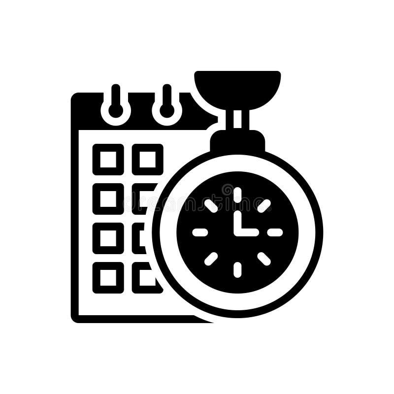 时间计划的,效率黑坚实象和组织 向量例证