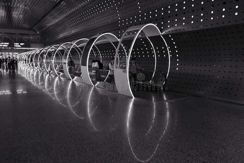 时间隧道在广州白云国际机场 免版税库存照片