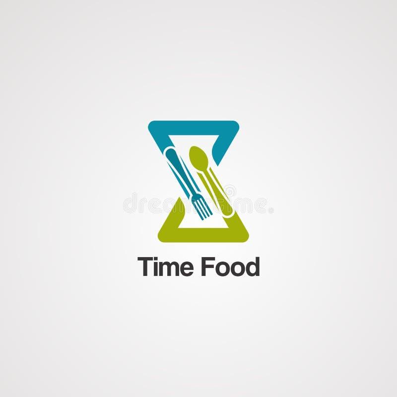 时间食物商标传染媒介、象、元素和模板事务的 库存例证