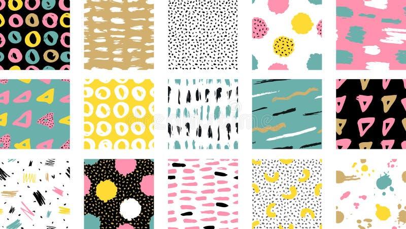 时髦与刷子冲程的传染媒介无缝的五颜六色的样式 Vec 皇族释放例证