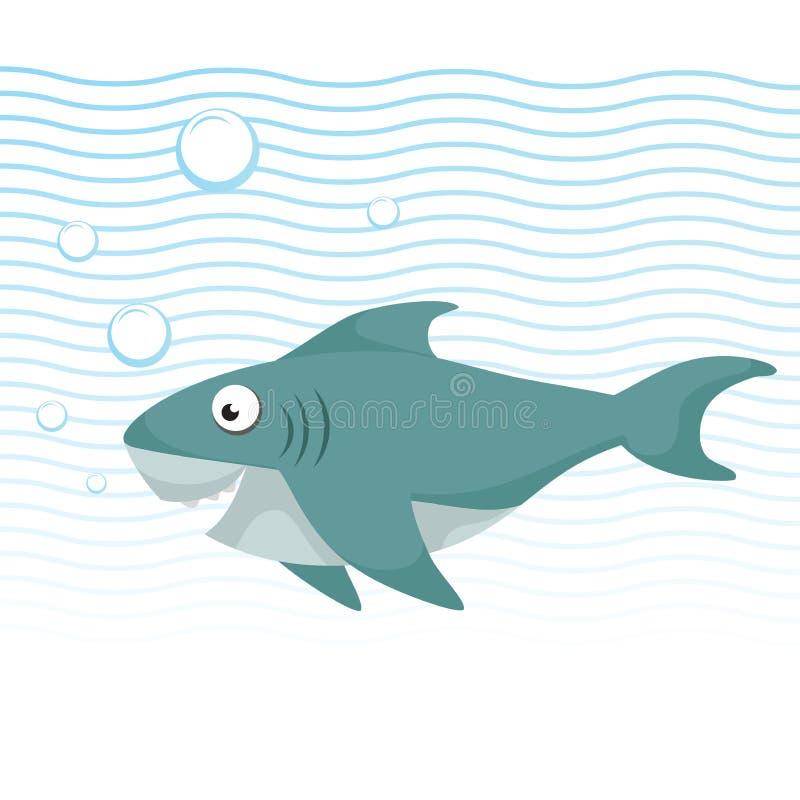 时髦与大眼睛的游泳动画片样式快乐的鲨鱼在水面下 波浪和泡影 库存例证
