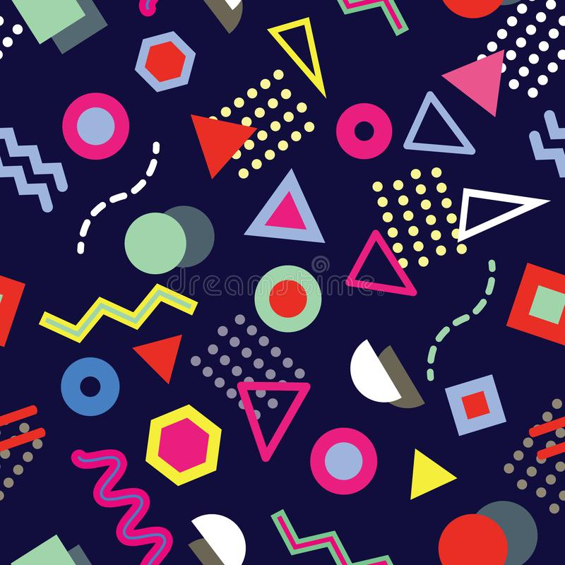 时髦与嬉戏的几何形状的孟菲斯样式无缝的样式在海军背景 库存例证