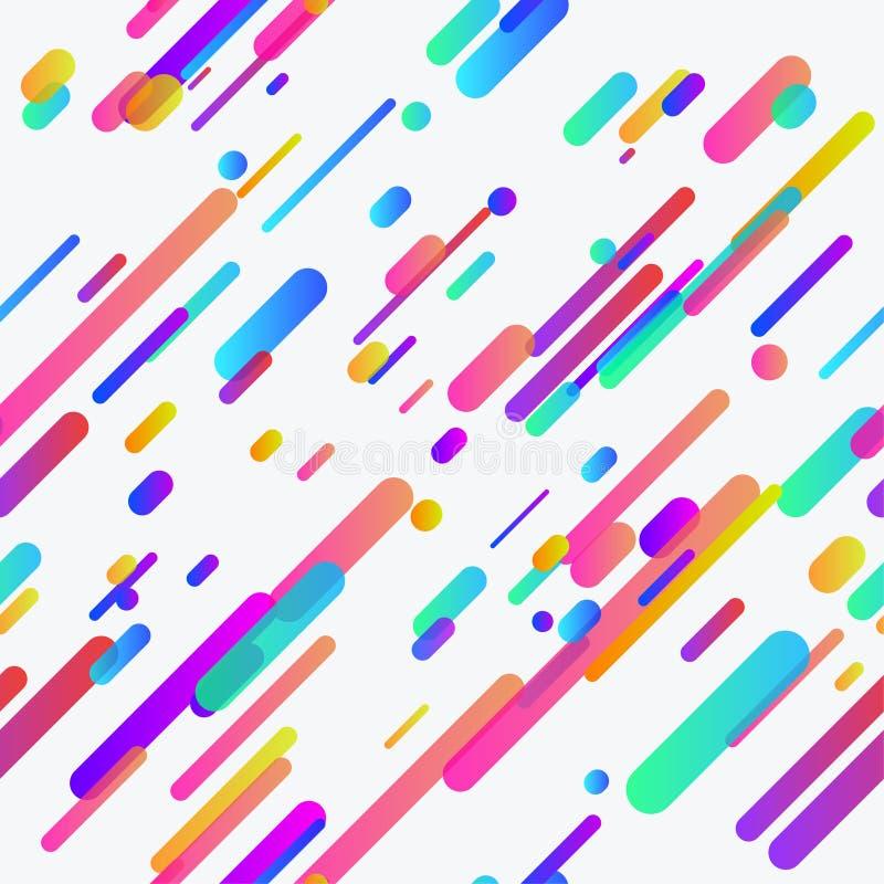 时髦五颜六色的氖排行无缝的背景模板 向量例证