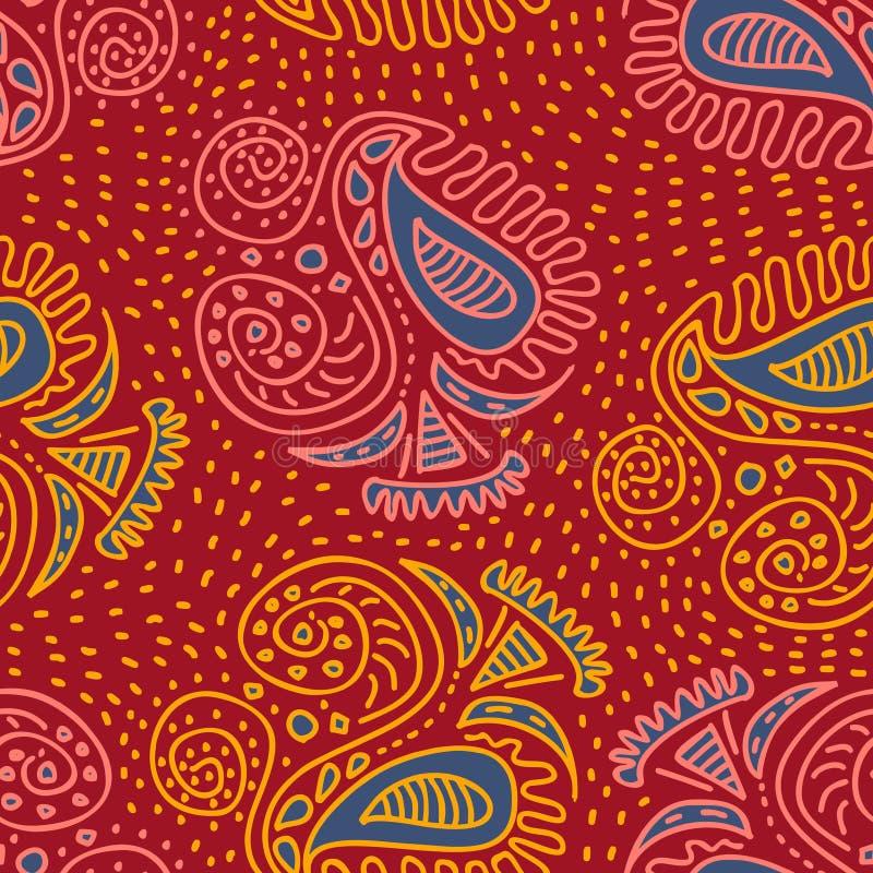 时髦亚洲部族种族与蜡染布佩兹利样式自然图画的主题手拉的无缝的样式在红色背景 皇族释放例证