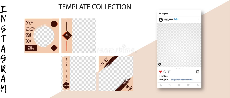 时髦人脉模板 您的设计的社会媒介横幅 编辑可能的Instagram岗位嘲笑 皇族释放例证