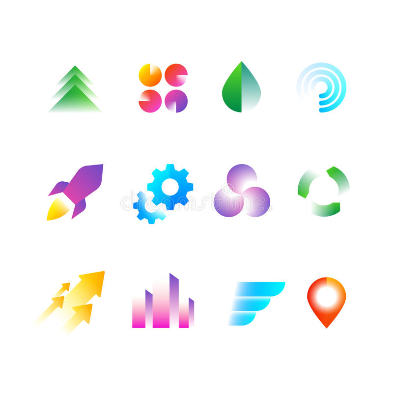 时髦企业商标标志 略写法传染媒介集合的彩虹颜色几何形状 皇族释放例证