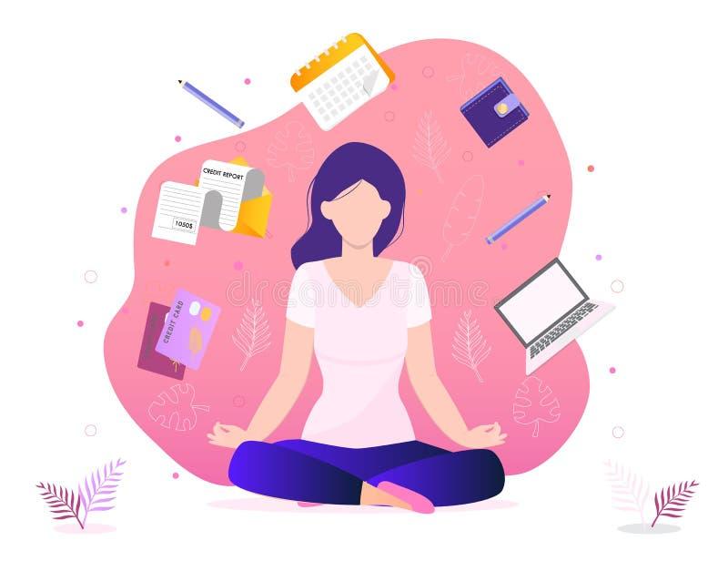 时髦企业瑜伽概念例证 办公室凝思,自我改善,控制头脑a 向量例证