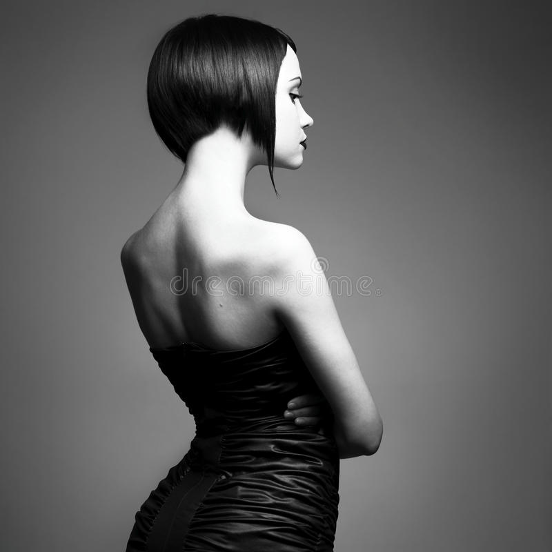 时髦典雅的发型的夫人 库存照片