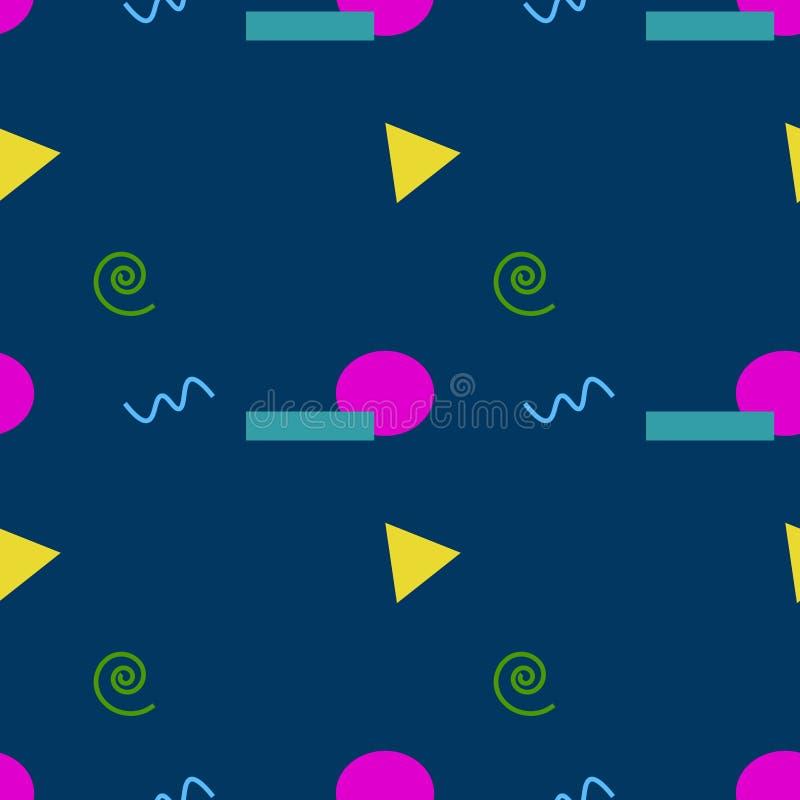 时髦几何元素孟菲斯卡片,无缝的样式 减速火箭的样式纹理 现代抽象设计海报,盖子,卡片设计 向量例证