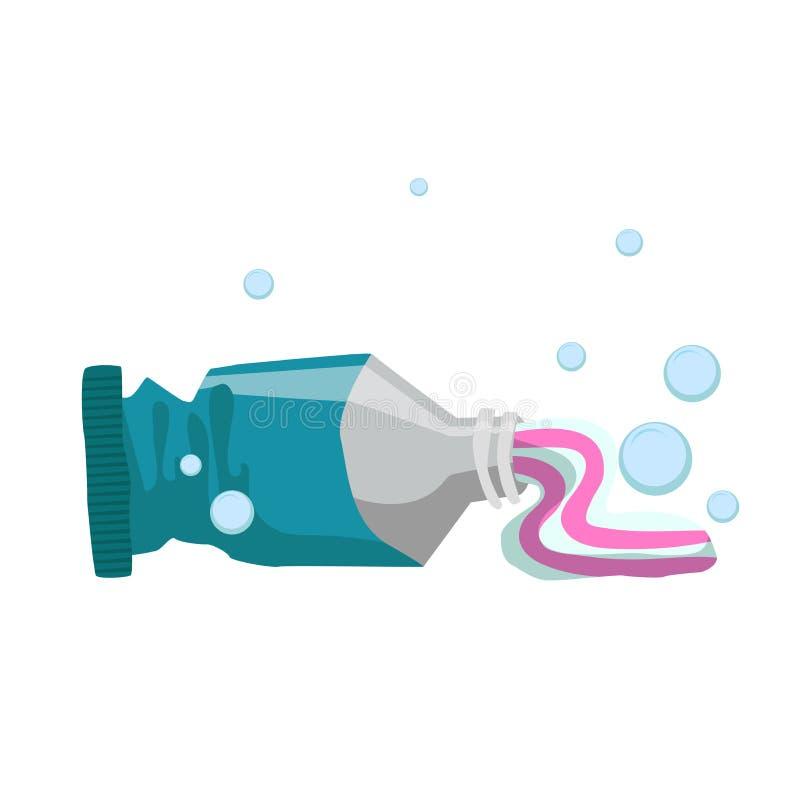 时髦动画片样式新鲜薄荷牙膏使用了管 每天卫生学和牙齿保护传染媒介例证 向量例证