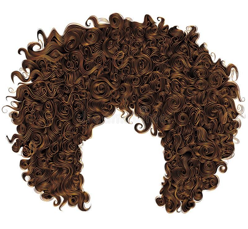 时髦卷曲红色头发 现实3d 球状发型红头发人 黑眼睛表面方式性感的样式妇女 皇族释放例证