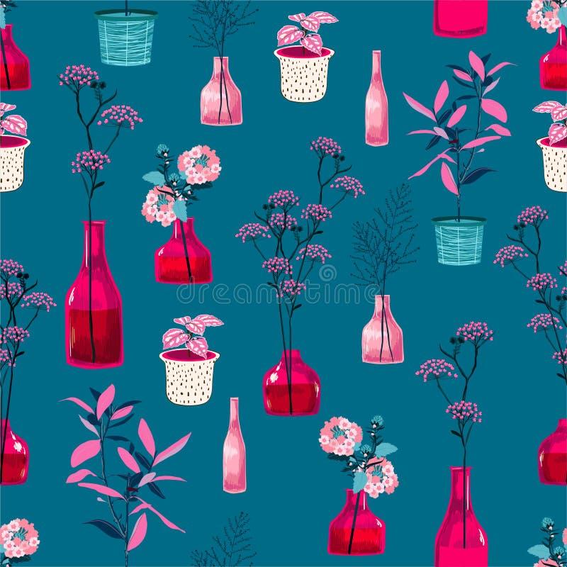 时髦和大反差现代花和新鲜的桃红色花瓶,有植物的植物例证的罐在无缝的传染媒介 皇族释放例证