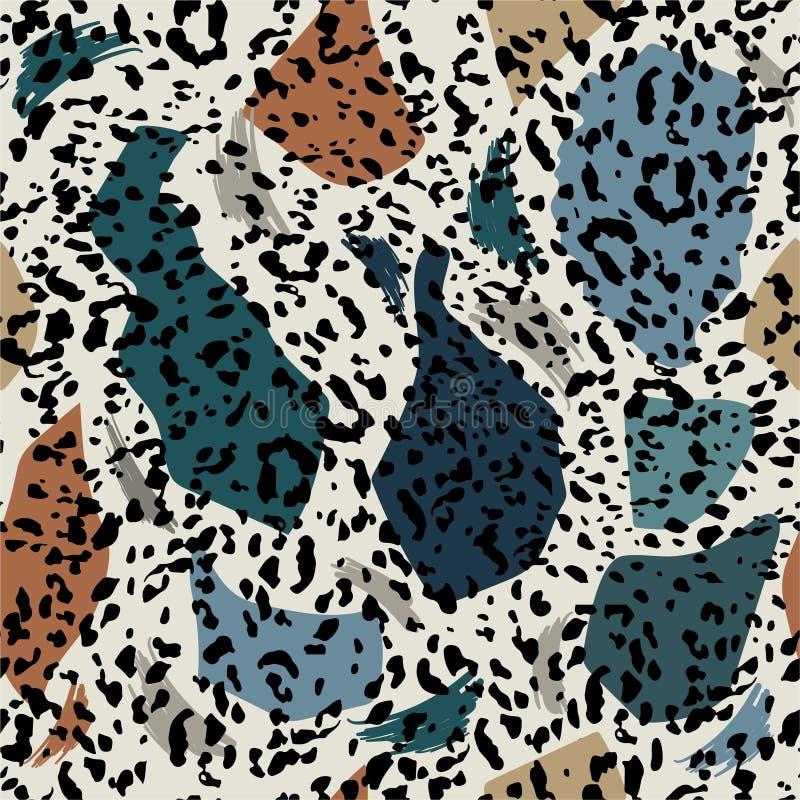 时髦和最小的无缝的样式时髦五颜六色徒手画与动物豹子印刷品 时髦手拉 M 向量例证