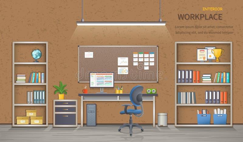 时髦和现代办公室工作场所 室内部 网横幅的详细的传染媒介例证 向量例证