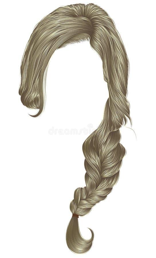 时髦妇女头发白肤金发的颜色 褶 方式秀丽 向量例证