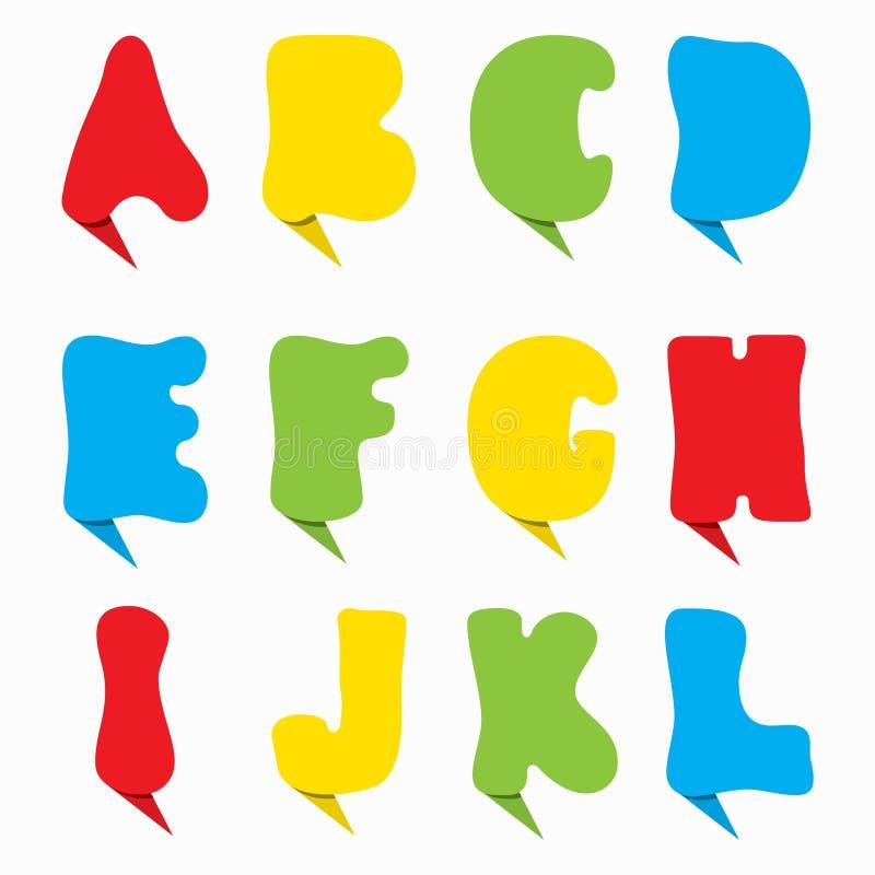 时髦字母表五颜六色的设计的字体 皇族释放例证