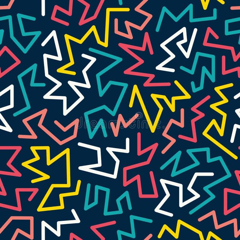 时髦孟菲斯样式无缝的样式由80s, 90s减速火箭的时尚设计启发了 五颜六色的欢乐行家背景 皇族释放例证