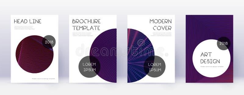 时髦小册子设计模板集合 紫罗兰色abstra 向量例证