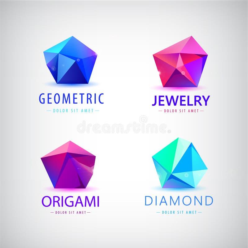 时髦平的设计小平面水晶宝石形状商标元素 库存例证