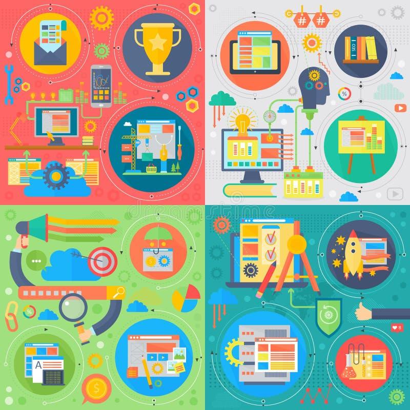 时髦平的设计SEO技术传染媒介套网象 用户网查寻经验、网站等级和营销 库存例证