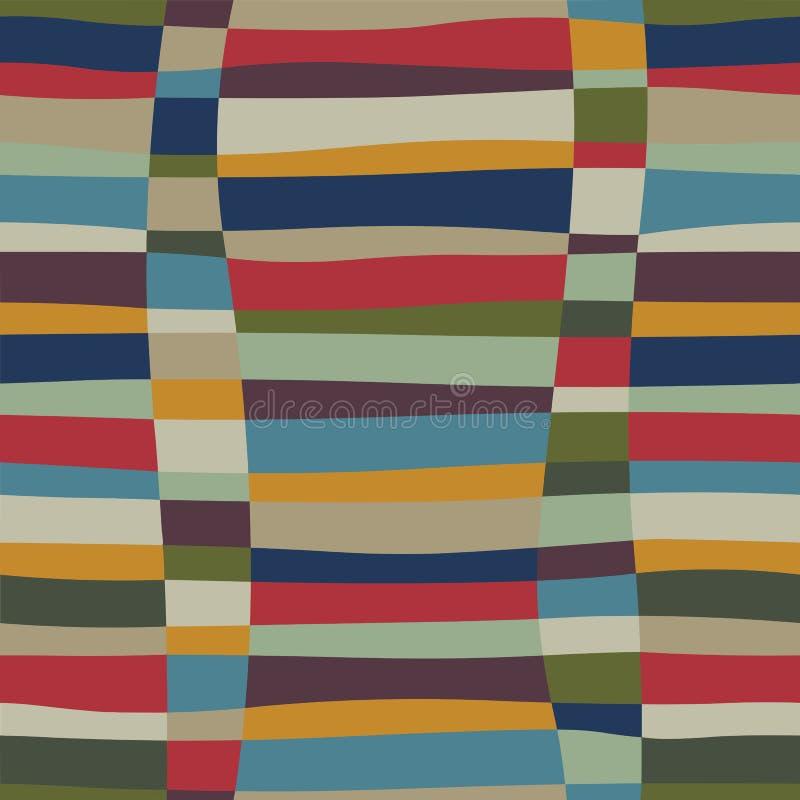 时髦抽象减速火箭的与编织的小故障五颜六色的无缝的样式 库存例证