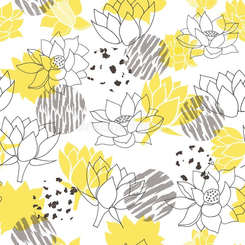 时髦抽象黄色和灰色waterlilies或莲花无缝的传染媒介样式背景 皇族释放例证