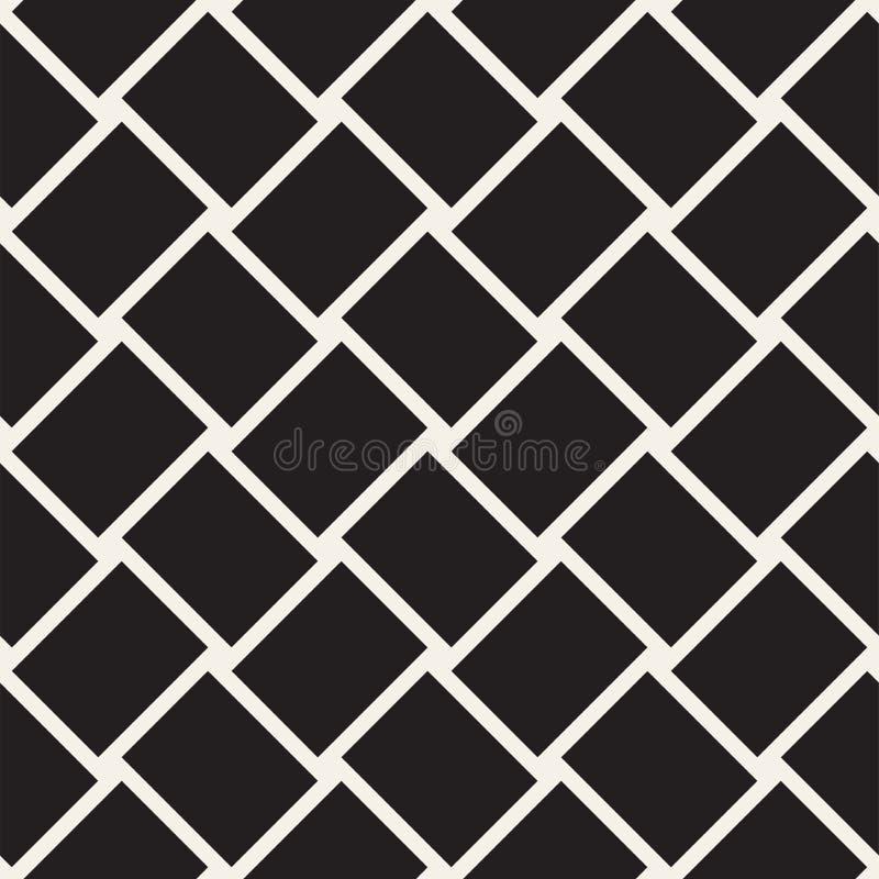 时髦斜纹组织格子 抽象几何背景设计 黑色模式无缝的向量白色 向量例证