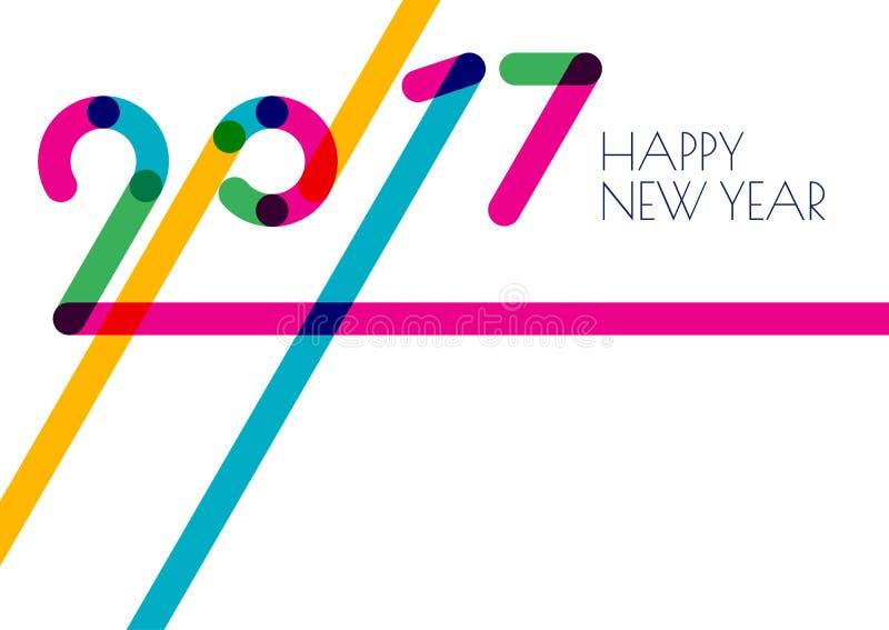 时髦新年2017个假日背景 贺卡的创造性的平的设计 库存例证