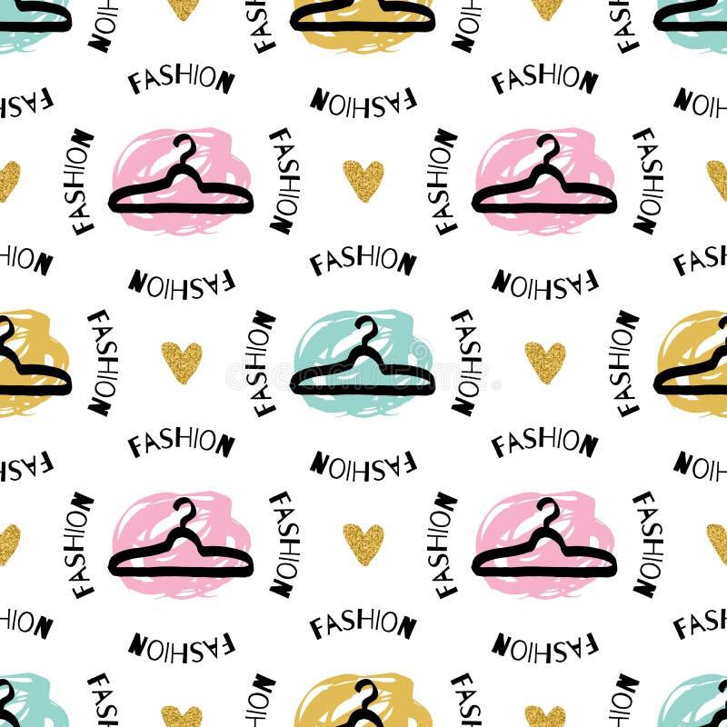 时髦时尚无缝的样式剪影晒衣架艺术性的图形设计 皇族释放例证