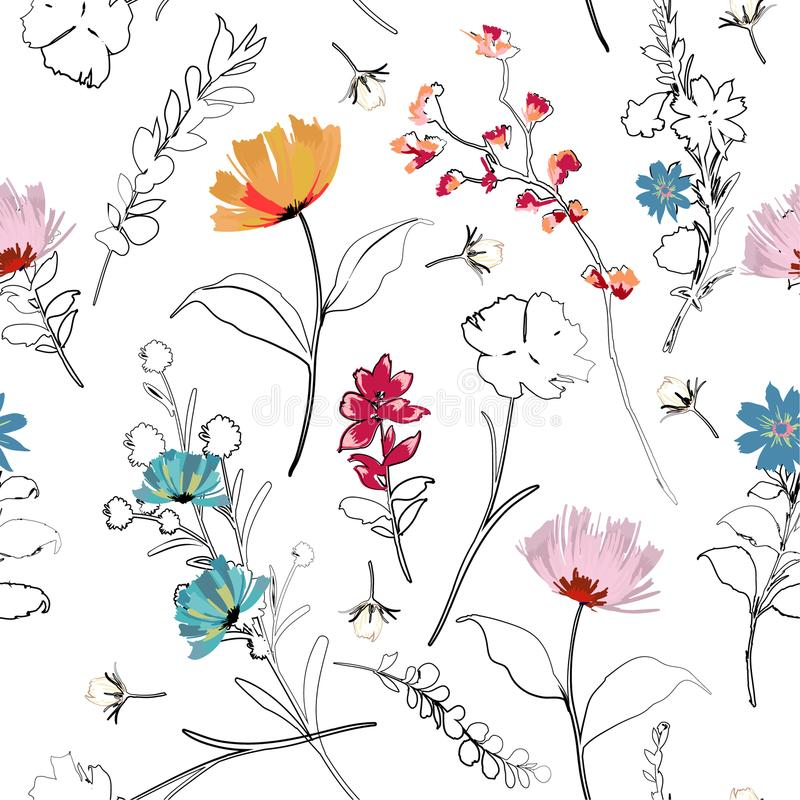 时髦明亮的绘f的夏天开花的庭院概述和手 皇族释放例证