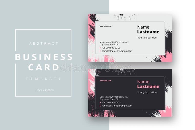 时髦最小的抽象名片模板 与几何样式的现代公司文具id布局 传染媒介时尚 向量例证
