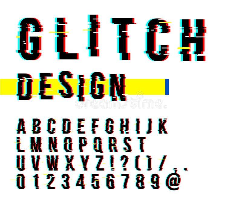 时髦样式被变形的小故障字体 信件和数字传染媒介例证 小故障铅印设计 库存例证