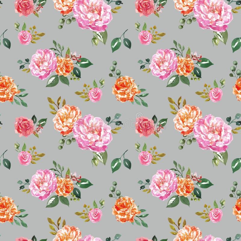 时髦水彩花卉无缝的样式 手画桃红色和橙色花在苍白灰色背景 植物的印刷品 皇族释放例证
