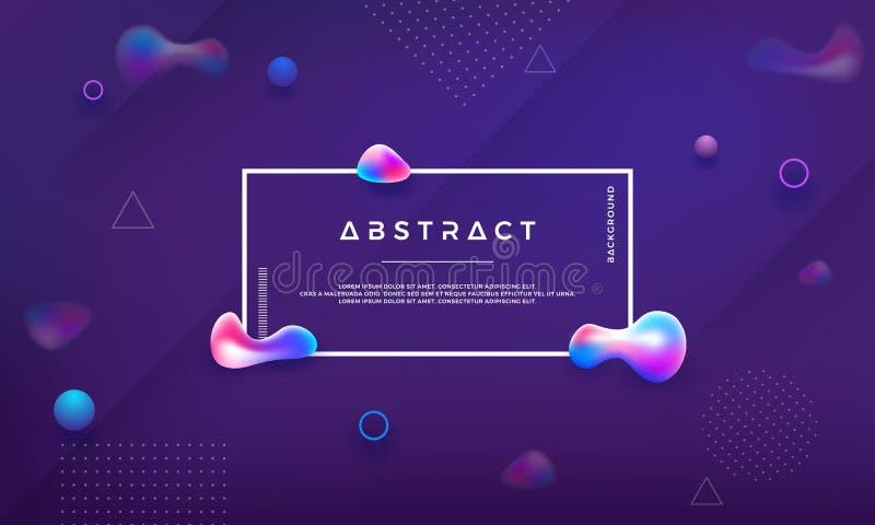 时髦液体颜色背景 与抽象液体的现代紫色背景 现代未来派液体设计海报 文本和 向量例证