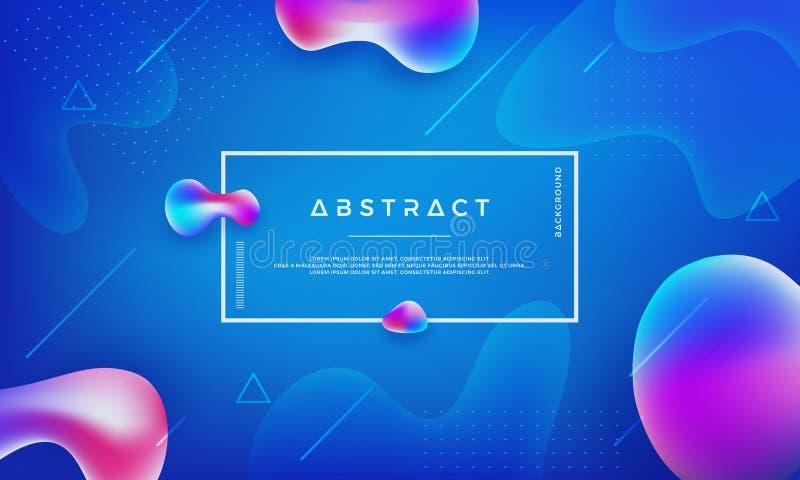 时髦液体颜色背景 抽象蓝色,桃红色,紫色背景 现代未来派液体设计海报 库存例证