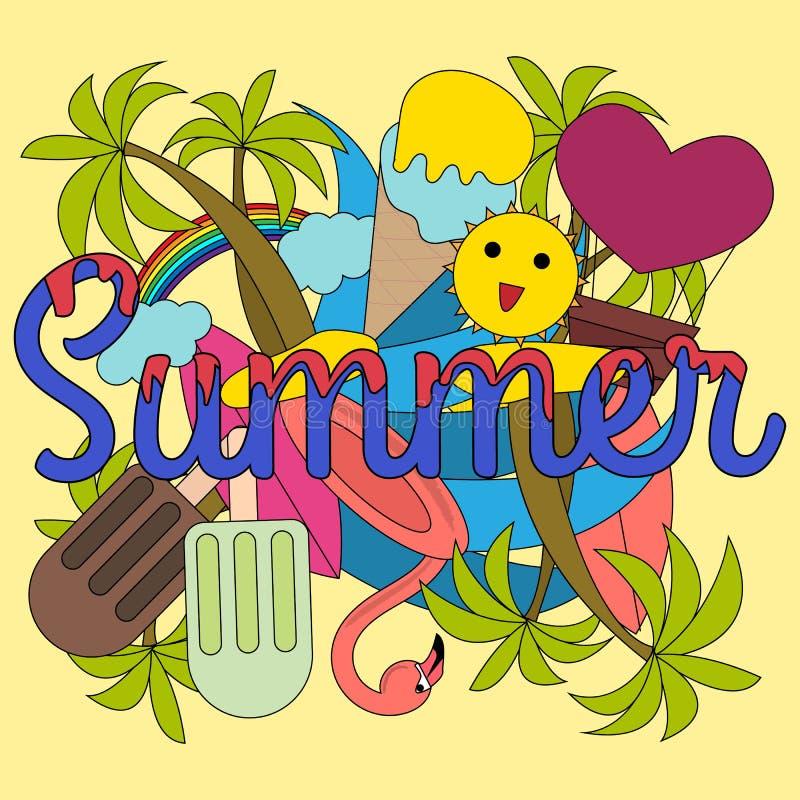 时髦现代夏天例证,任何目的了不起的设计 海报,卡片,标签,横幅时尚例证 库存例证