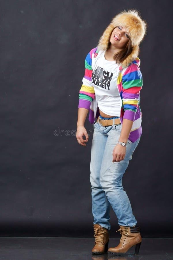 时髦疯狂的女孩 图库摄影