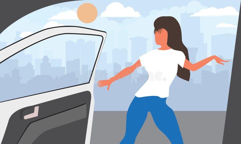 时髦病毒舞蹈挑战的传染媒介例证,当打开时汽车移动和门 向量例证