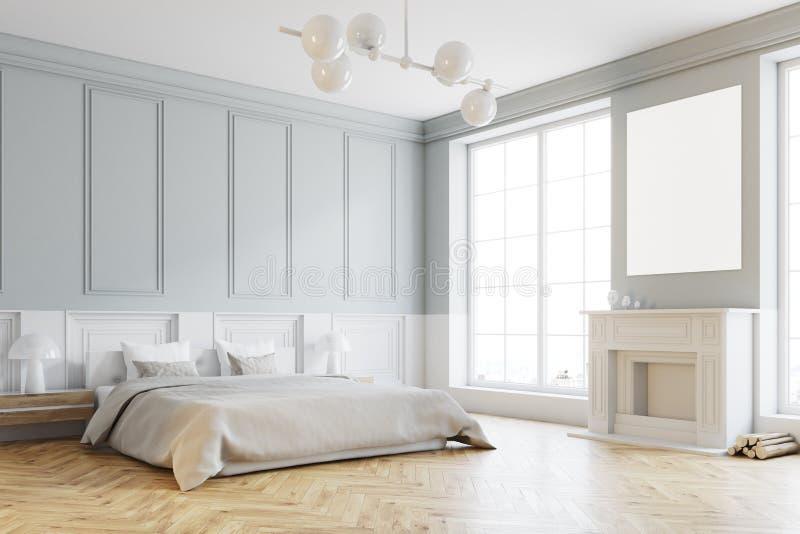 时髦的主卧室角落,白色 皇族释放例证