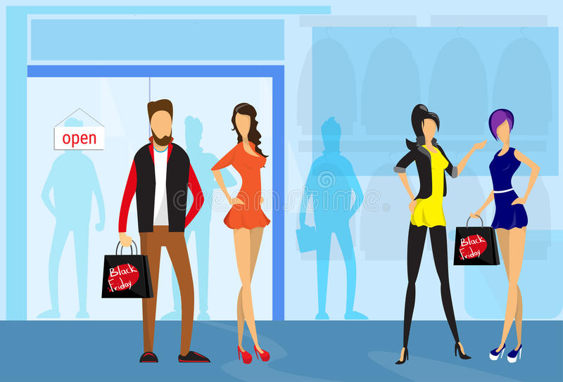 时髦的人举行购物袋现代商店购物中心中心内部 向量例证